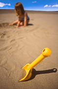 Child Toy Posters - Playtime At The Beach Poster by Meirion Matthias