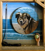 Dog Play Beach Paintings - Playtime by Dawn Graham