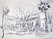 Historical Buildings Drawings Prints - Plaza de Zacate Print by Bill Joseph  Markowski