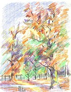 Leaves Drawings - Pleasant Autumn in Brigadoon C104 by Kip DeVore