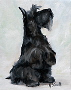 Scottie Portrait Paintings - Please by Mary Sparrow Smith