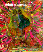 Wax Mixed Media Posters - Please Promise Not To Tell Poster by Angela L Walker