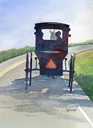 Amish Buggy Paintings - Please Use Caution by Marsha Elliott