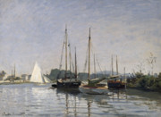 Sailing Metal Prints - Pleasure Boats Argenteuil Metal Print by Claude Monet