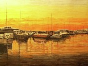 Yellow Sailboats Originals - Pleasure Harbor by Wayne Vander Jagt