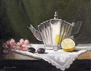 Linen Room Framed Prints - Pleated Teapot with Lemon Framed Print by Sarah Parks