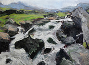 Naturalistic Posters - Plein air sketch in Snowdonia Poster by Harry Robertson