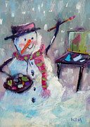 Painter Pastels Posters - Plein Air Snowman Poster by Karen Margulis