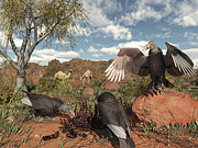 Food Chain Digital Art Posters - Pleistocene Black Vultures Feed Poster by Walter Myers