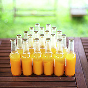 Plenty Of Apricot Juice Bottles On Garden Table Print by Les Hirondelles Photography