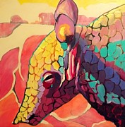 Quirky Painting Posters - Plight of The Armadillo Poster by Carly Hardy