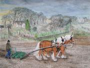 Cultivation Painting Prints - Plough Horses Print by Yvonne Johnstone