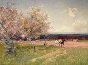 Pink Blossom Trees Prints - Ploughing Print by Sir Alfred East