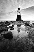 Black And White Photography Metal Prints - Plover Scar Lighthouse Metal Print by copyright Ian Bramham Photography