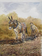 Horse Paintings - Plowing Ahead by Callie Smith