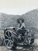 Agriculture Drawings - Plowing In - Aunt Teen at the Tractor by Susan Donley