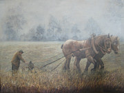 Plowing It The Old Way Print by Donna Tucker