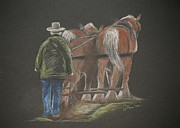 Draft Pastels Posters - Plowing the Fields Poster by Stephanie L Carr