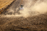 Dust Metal Prints - Plowing the Ground Metal Print by Mike  Dawson