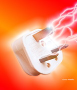 Electric Current Prints - Plug With Electric Current Print by Victor Habbick Visions