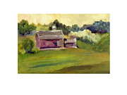 Bucolic Scenes Painting Prints - Plum Barn  Print by Gloria Fredricks