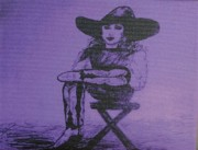 Plum Drawings Posters - Plum Cowgirl Poster by Susan Gahr