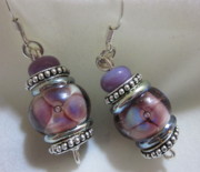 Petals Jewelry - Plum Flower Dangle Earrings by Janet  Telander