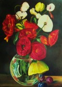 Ranunculus Paintings - Plum ranunculus by Dana Redfern