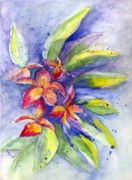 Notecards Painting Prints - Plumeria Print by Carol Wisniewski