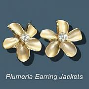Tahiti Jewelry - Plumeria Earring Jackets by Vargas Jewelry