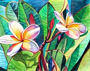 Red Flower Paintings - Plumeria Garden by Marionette Taboniar