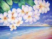 Overhang Painting Framed Prints - Plumeria Over Beach Framed Print by Barbara Eberhart - Printscapes