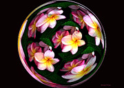 Photo-manipulation Prints - Plumeria Tile Ball Print by Cheryl Young