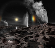 Outburst Prints - Pluto May Have Hot Springs And Geysers Print by Ron Miller