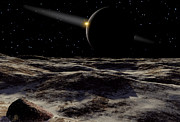 Digitally Generated Image Art - Pluto Seen From The Surface by Ron Miller