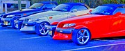 Classic Car.hot-rod Photos - Plymouth Prowlers Together Grunge by Pictures HDR