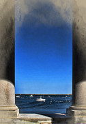 Plymouth Harbor Framed Prints - Plymouyh Harbor and Columns Framed Print by Joan  Minchak