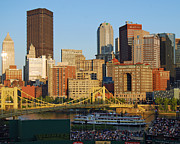 Pittsburgh Pirates Prints - PNC Park and River Boat Print by Steve Whalen