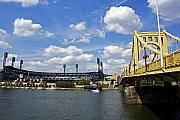Pittsburgh Framed Prints - PNC Park and Roberto Clemente Bridge Pittsburgh PA Framed Print by Kristen Vota