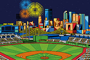 Steelers Posters - PNC Park fireworks Poster by Ron Magnes