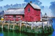 Fishing Shack Paintings - Pnrf0513 by Henry Butz