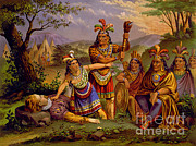 Saving Prints - Pocahontas Saving John Smith, 1607 Print by Photo Researchers