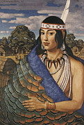 Headband Metal Prints - Pocahontas Wears A Turkey-feather Robe Metal Print by W. Langdon Kihn