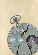 Mechanical Painting Posters - Pocket Watch Poster by Kathy Montgomery