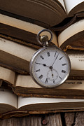 Pocket Watch Glass Acrylic Prints - Pocket watch on pile of books Acrylic Print by Garry Gay