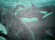 Killer Whale Paintings - Pod I by Karen Giles