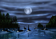 Killer Whale Digital Art - Pod of Orca by Walter Colvin