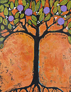 Nature Orange Framed Prints - Poe Tree Framed Print by Blenda Tyvoll