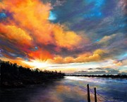 Sunset Seascape Pastels Posters - Poetry Night Poster by Roman Burgan