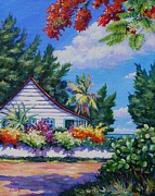 Bay Islands Painting Framed Prints - Poinciana and Cottage Framed Print by John Clark